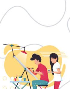 Caratula de Arte con Joven Dibujando en su Estudio de Artes Plásticas