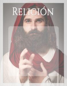 Caratula de Religión con el rostro de Jesús de Nazaret Dios