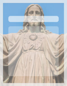 Caratula de religión con figura del Cristo Jesús Redentor