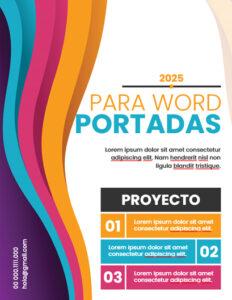 Caratula multicolor para portada de word