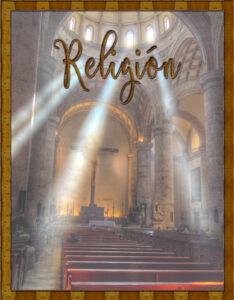 Caratula para curso de religión con diseño de iglesia católica