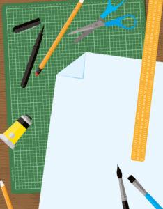 Caratulas de Arte con diseño de hoja lápices y pinceles para dibujar