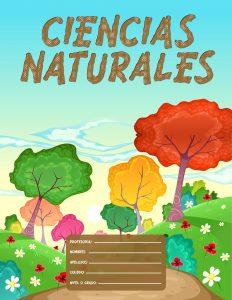 Caratulas de Ciencias Naturales para colegio con fondo de bosques
