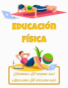 Caratulas de Educación Física para alumnos haciendo ejercicios