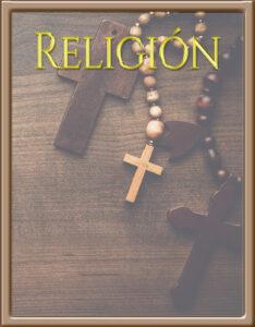 Caratulas de Religión con fondo de collar de cruz cristiana