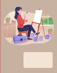Caratulas para Cuadernos de Arte Mujer Universitaria Pintando