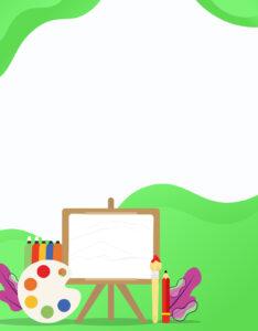 Caratulas para curso de Educación Artística Pizarra y pinceles verde
