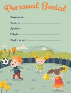 Curso de Personal Social caratula para cuadernos