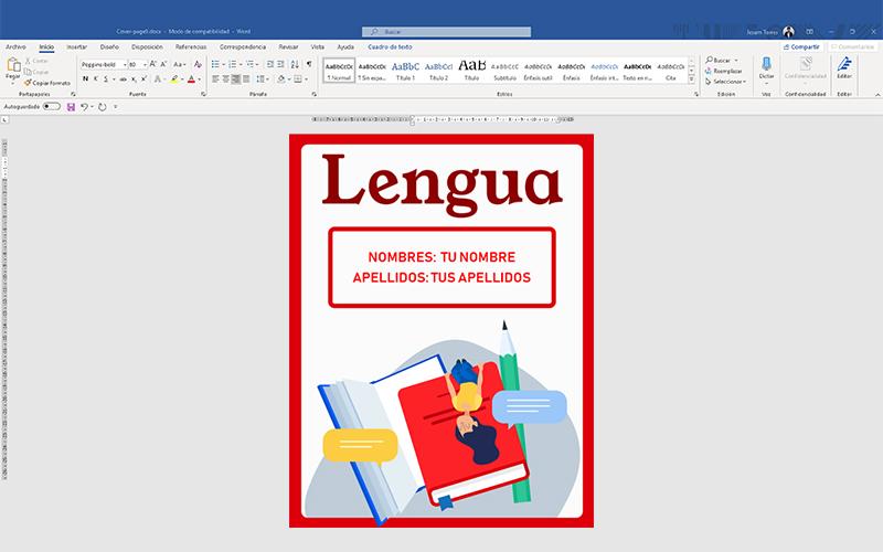 Ejemplo de portadas de lengua y caratula hecha en word
