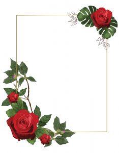 Marcos Decorativos para Hojas con Rosas Rojas