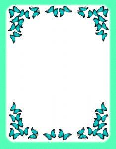 Marcos Decorativos para Hojas de mariposas verde agua