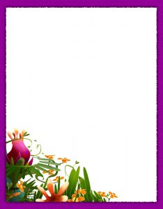 Marcos para Hojas con borde morado con flores