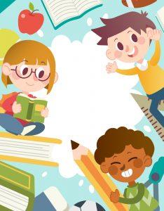 Marcos para Hojas de Niños Escolares estudiando