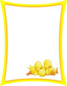 Marcos para Hojas de Niños con borde amarillo y patitos