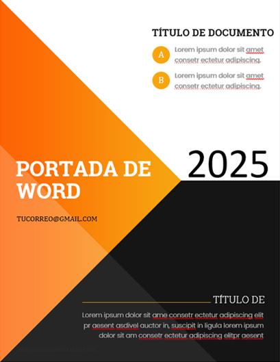 Portadas para word con Triangulo Naranja y Negro Formal Elegante