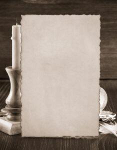 Portada de pergaminos para trabajos de cuaderno con diseño clásico
