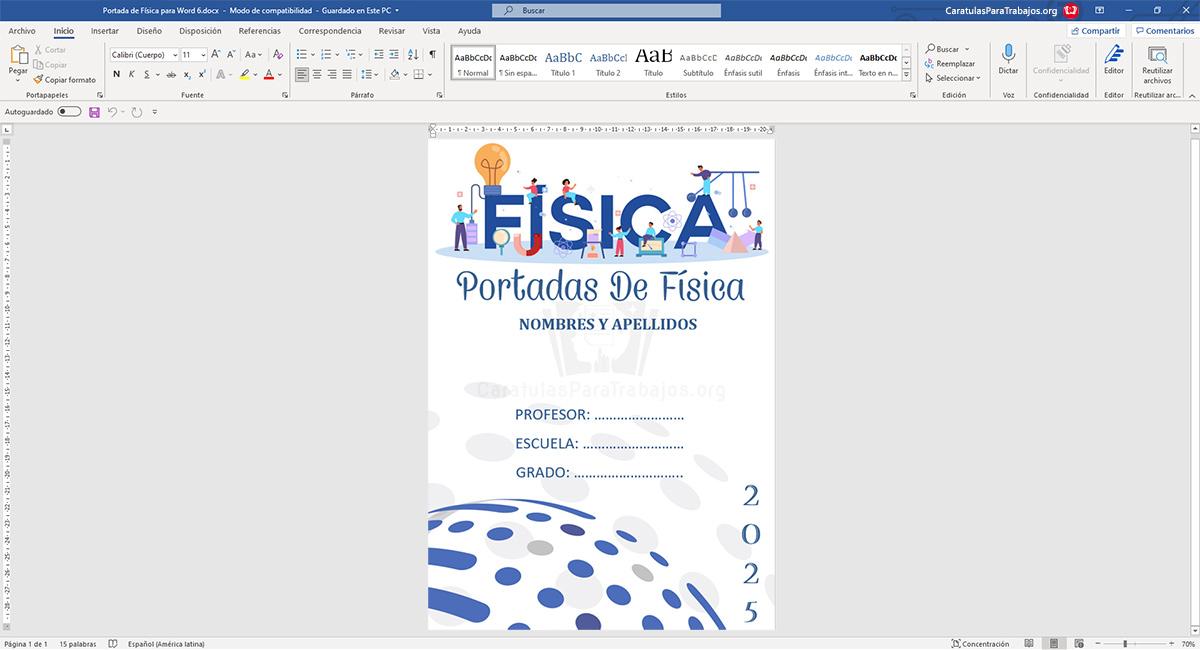 Portadas de Física para Cuadernos editable en Word