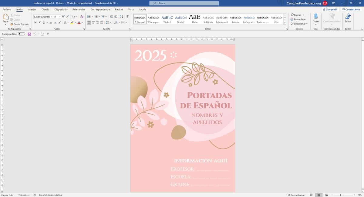 Portadas para Español Bonitas Editable en Word