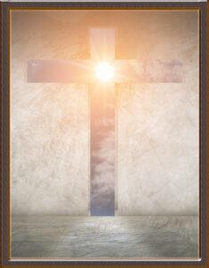 caratula de religión con fondo de la cruz de cristo