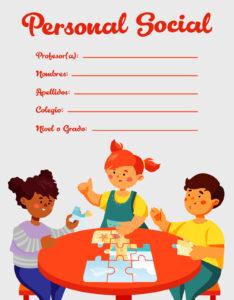 caratula para cuaderno de personal social niños en clase