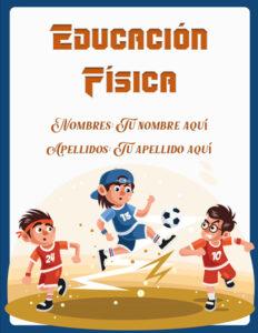 caratulas de educación física niños jugando fútbol