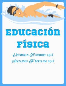 caratulas de educación física para el curso de natación