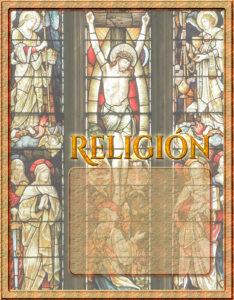 caratulas para religión de secundaria con fondo de cristo