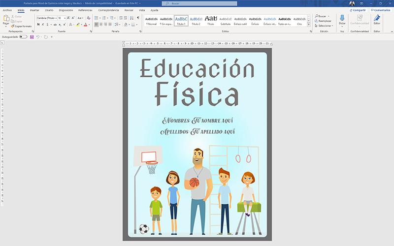 ejemplo de caratulas de educación física en word para editar