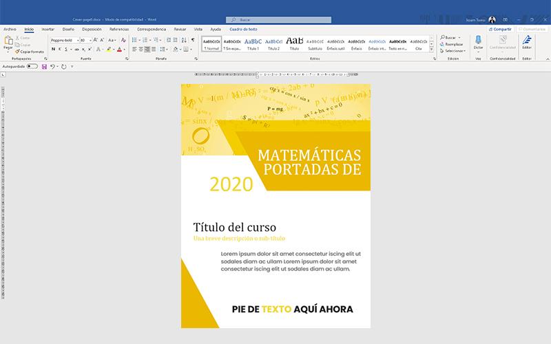 Ejemplo de interfaz de Microsoft Word con portada de matemática