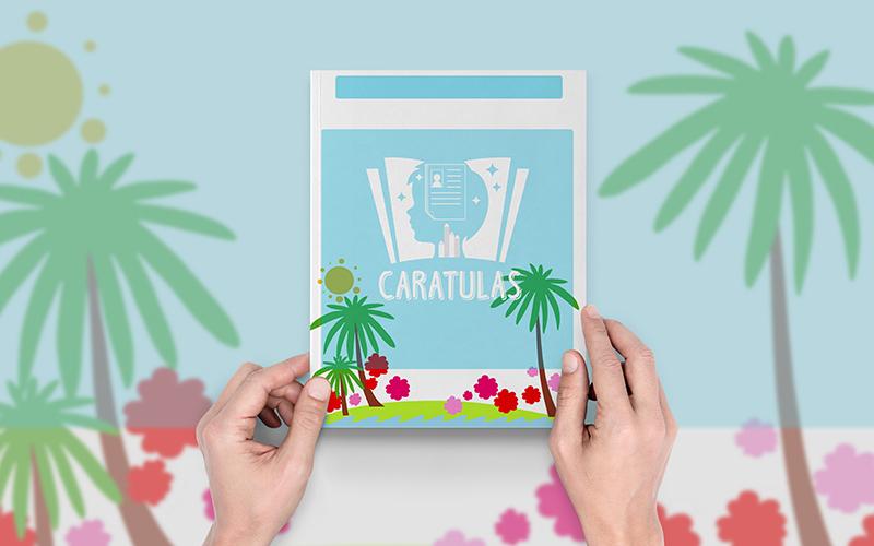 portada con diseño de palmeras temporada verano