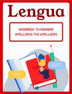portadas de lengua castellana para trabajos en word y cuadernos